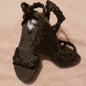 BUCCO Capensis Blk Straw Wedge Platf.Sandals Sz 10